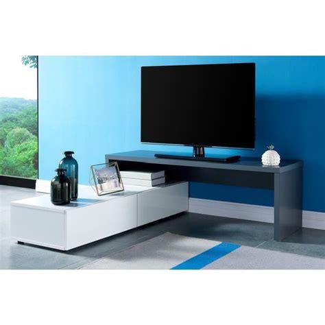 floyd meuble tv contemporain d 233 cor gris et blanc brillant l 120 233 cm achat vente meuble