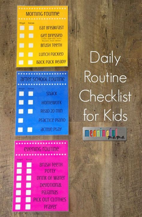 daily routine checklist  kids  school routine