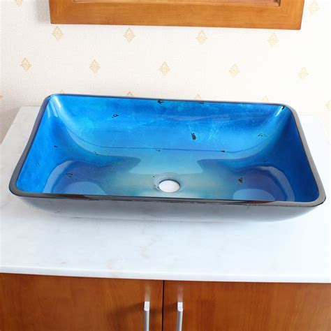 1206 Tempered Glass Vessel Sink w. Unique Hand Painting