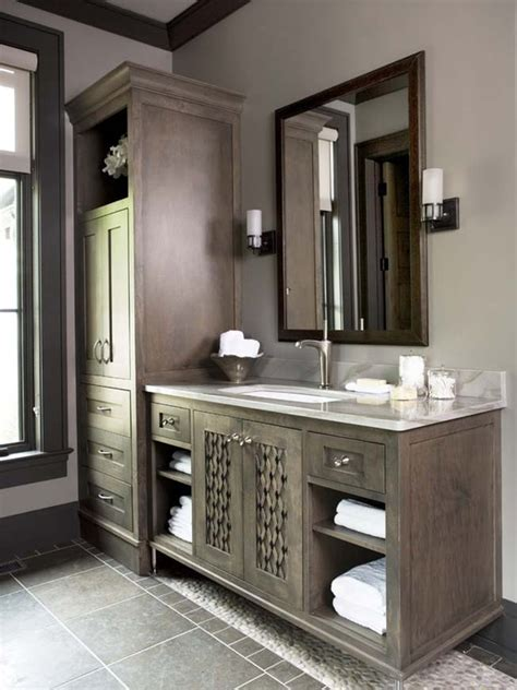 stained bathroom cabinets gray bathroom cabinets design ideas Grey
