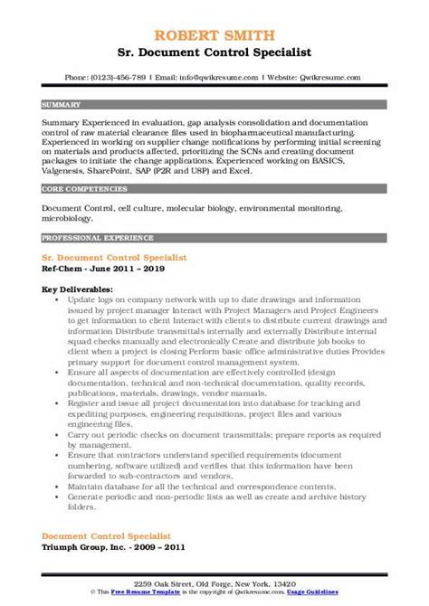 document control specialist resume samples qwikresume