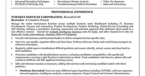 technical recruiter resume summary technical recruiter resume exle resume exles