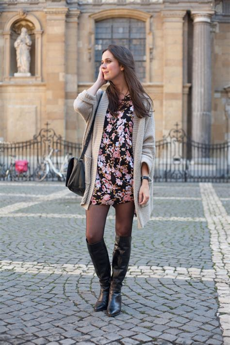 outfit floral babydoll dress   knee boots
