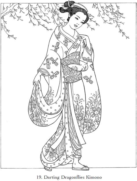 japanese coloring book childhood education japanese kimono coloring pictures