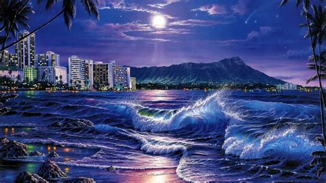 1920x1080 Ocean City Moon Night Hawaii Desktop Pc And Mac