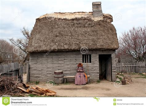 Early New England Settlement Home Stock Photo  Image Of