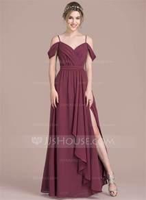 designer dresses a line princess v neck floor length chiffon prom dress with bow s split front cascading ruffles