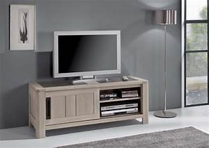 Meuble Tv Bois Massif Moderne : acheter votre meuble tv chene massif et ceramique 1 porte 1 niche chez simeuble ~ Teatrodelosmanantiales.com Idées de Décoration