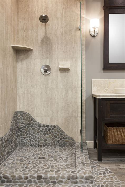 this shower brings elements of nature with a shower pan
