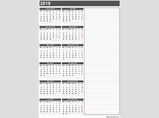 Blank Calendar 2019 Printable Word Excel PDF with Holidays