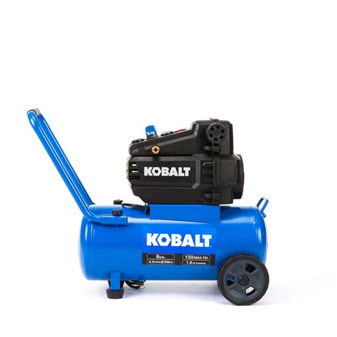 kobalt 8 gallon portable 150 electric horizontal air compressor at lowes
