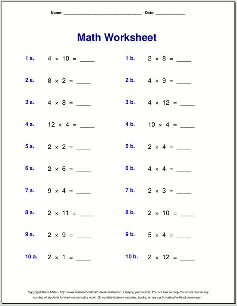 multiplication worksheets for grade 3