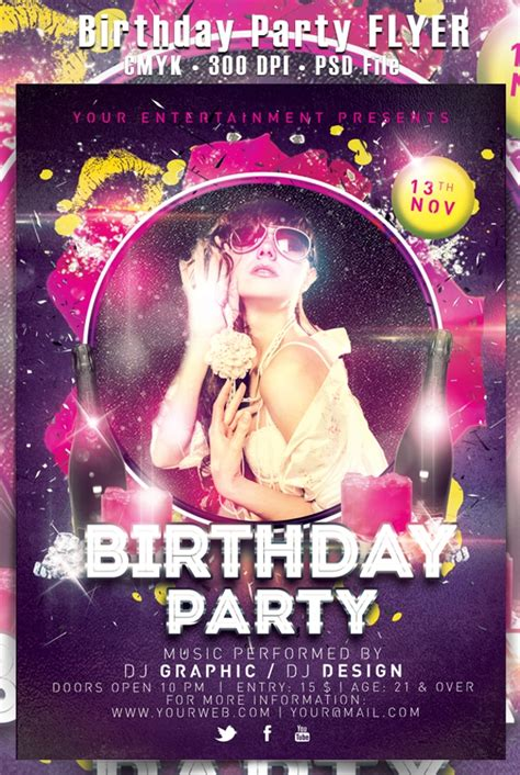 attractive birthday party flyer psd designs word