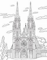 Coloring Cathedral Pages Adult Printable Colouring Architecture Sheets Coloringgarden Drawing Pencil Template Drawings Adults Pen Books Sketch Mandala Quilling 2902 sketch template