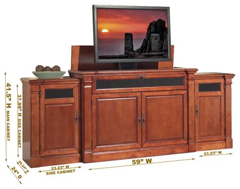 tv lift cabinets for flat screens adonzo tv lift cabinet with side cabinets for flat screen