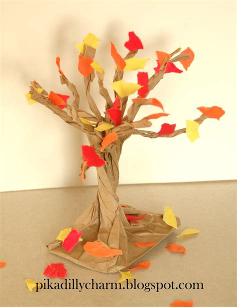 fall crafts pikadilly charm paper bag fall tree