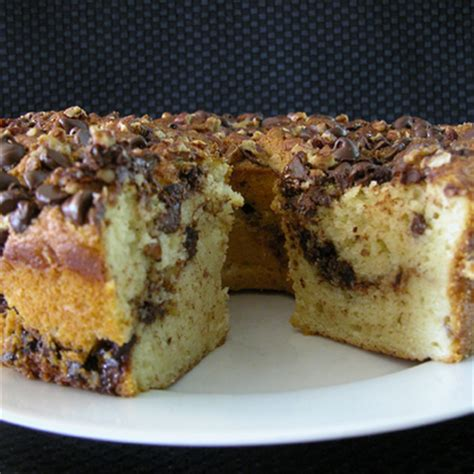 I like to add chopped walnuts and chocolate chips to the streusel from time to time. Chocolate Chip Sour Cream Coffee Cake Recipe   MyRecipes