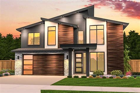 angular modern   upstairs bedrooms ms architectural designs house plans