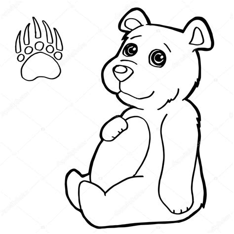 bear  paw print coloring pages vector stock vector