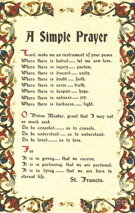 florentine simple prayer for peace by francis of assisi print b