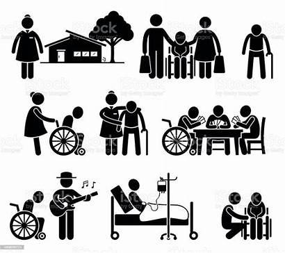 Nursing Care Elderly Retirement Pictogram Folks Vector
