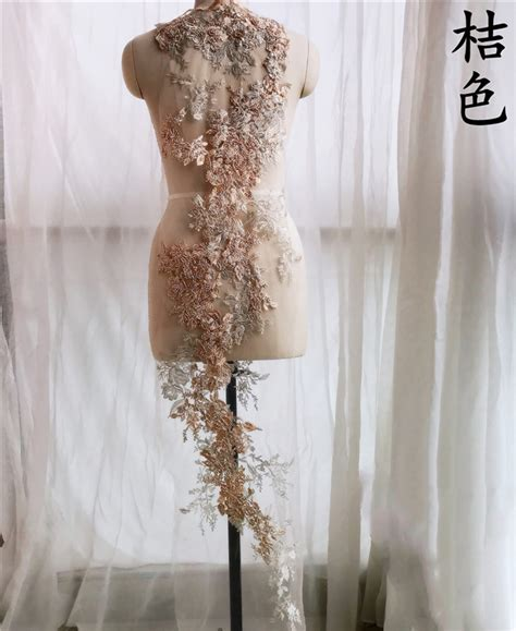1 piece french lace applique handmade beads 3d wedding