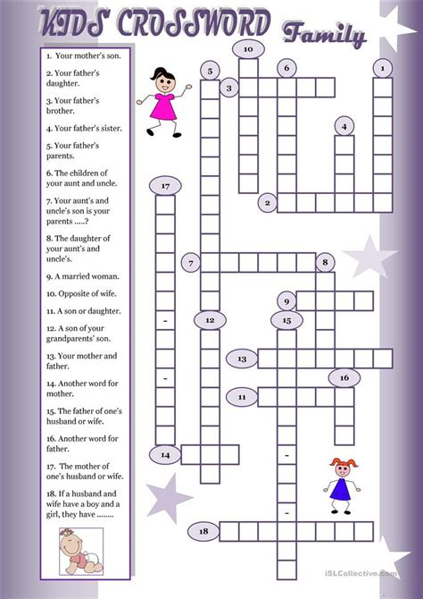 kids crossword family worksheet  esl printable