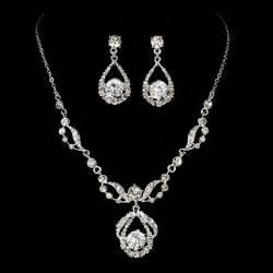 bridesmaid jewlery diamante bridal jewelry set silver rhinestone necklace earring set ebay