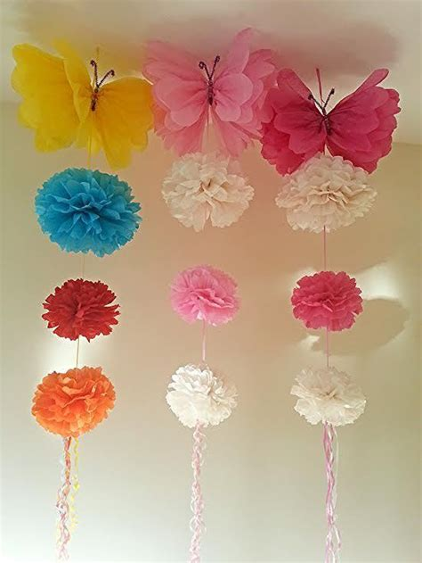 pom pom decorations hanging ceiling decorations tissue paper pom poms birthday ebay