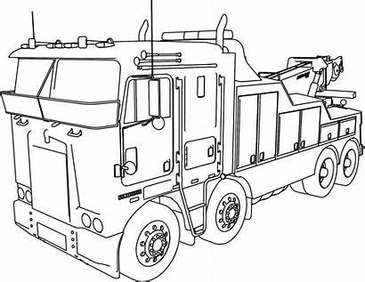 Truck Semi Drawing Line Coloring Trailer Kenworth
