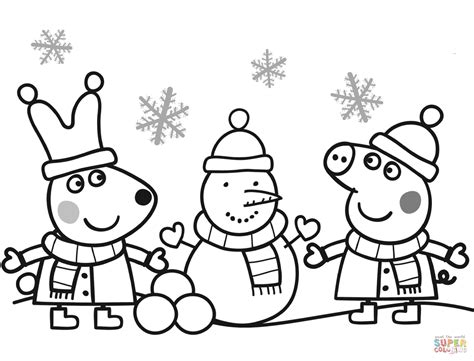 Peppa And Rebecca Are Making Snowman Coloring Page Free