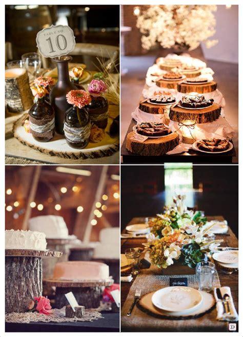 decoration mariage rondin bois centre de table set de table desserte tronc projets 224 essayer