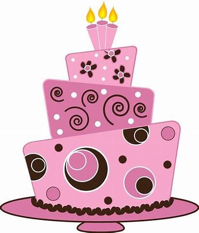 Cake Birthday Clipart Pink Fondant Brown Layer