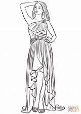 Coloring Prom Low Shoulder Printable Drawing Paper Dot sketch template