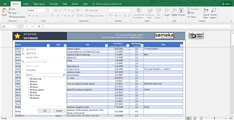 excel database template my reviews personal reviews ratings database template
