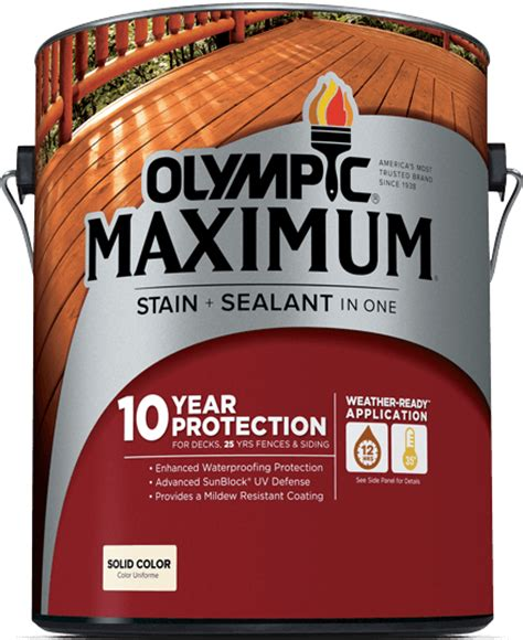 Lasting Deck Stain Sealer by Olympic 174 Maximum 174 Stain Sealant In One Solid Color