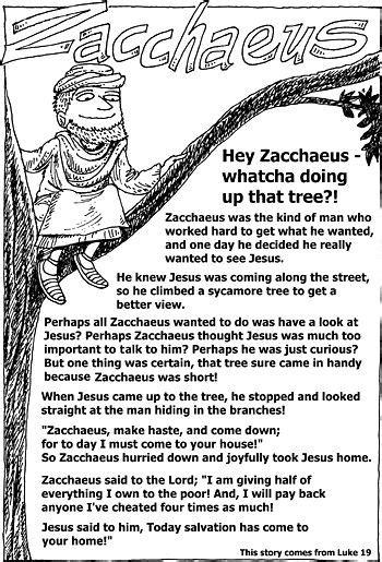 sunday school handouts zacchaeus zacchaeus sunday school preschool sunday school kids