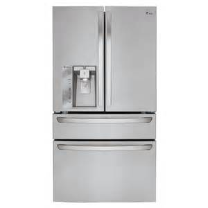 shop lg 22 7 cu ft 4 door counter depth door refrigerator with maker stainless steel