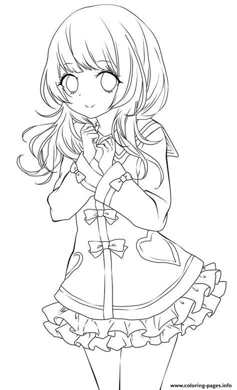 cute anime girl lineart  chifuyu san coloring pages printable