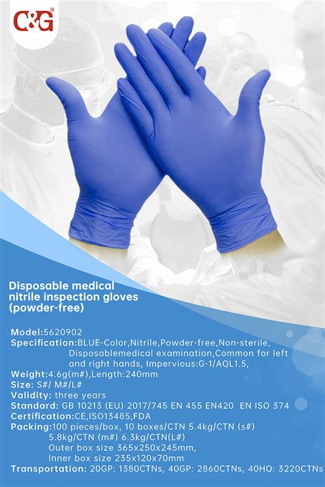 disposable medical nitrile inspection gloves powder  cg safety