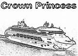 Cruise Coloring Ship Pages Princess Crown Netart sketch template