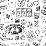 Casino Chips Pattern Poker Drawing Drawn Roulette Dice Chip Cards Seamless Clip Cigar Drawings Getdrawings Luck Piece Illustrations Clipart Vector sketch template