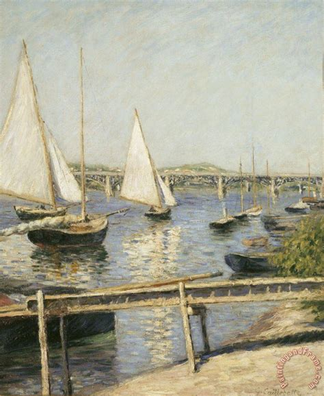 Monet Boats At Argenteuil by Gustave Caillebotte Sailing Boats At Argenteuil Painting