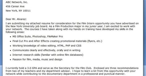Film Internship Cover Letter Examples