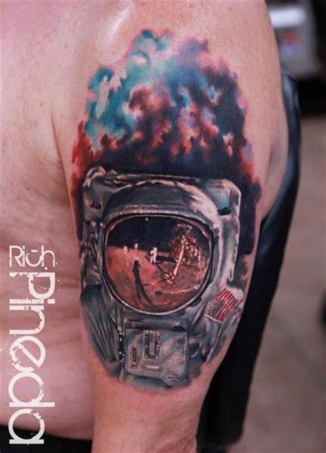 shoulder realistic astronaut tattoo  rich pineda tattoo