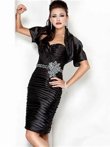 cute sweetheart short black tiered cocktail evening wear With jacket to wear over dress to wedding