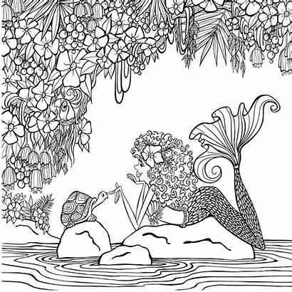Coloring Mermaid Mermaids Zendoodle Books Paradise Klette
