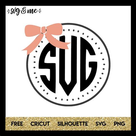 cute bow monogram frame svg