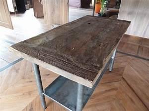 Pied De Table Metal Industriel : table style industriel plateau vieux chene pied metal ~ Teatrodelosmanantiales.com Idées de Décoration