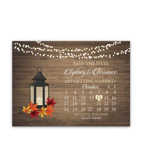 rustic fall wedding save  date calendar style